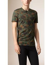 Burberry Prorsum Camouflage Print Cotton T Shirt