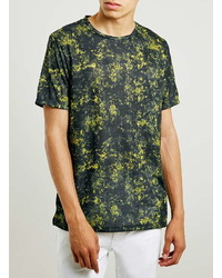 Topman Yellow Camo Slim Fit T Shirt