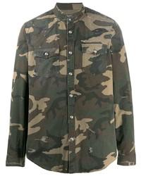 Balmain Camouflage Print Denim Shirt