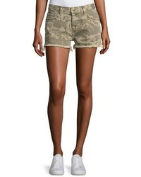 The boyfriend broken camo denim shorts green pattern medium 3719524