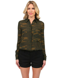 Button down blouse in camo medium 318249