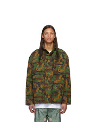 Off-White Green Camo All Over Padded Field Jacket