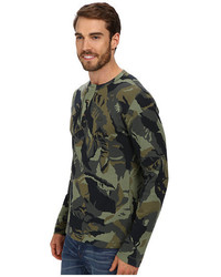 Lacoste Camouflage Printed Waffle Henley T Shirt