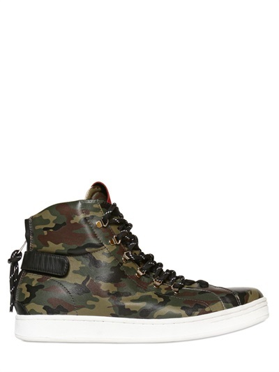 3c77af08b1375 Dolce & Gabbana Camouflage Leather High Top Sneakers, $895 ...