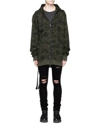 Unravel Camouflage Print Distressed Zip Hoodie