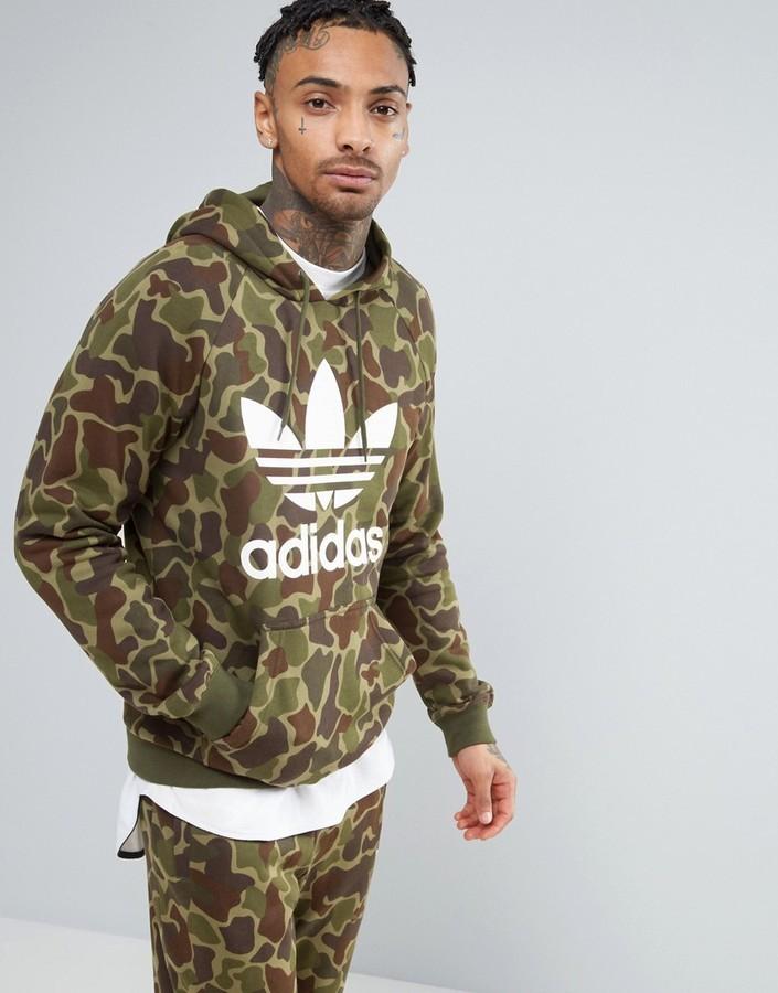 buy online ec4d2 e4f89 $70, adidas Originals Pullover Hoodie In Camo Bk5884