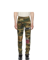 Amiri Green And Brown Camo Art Patch Jeans