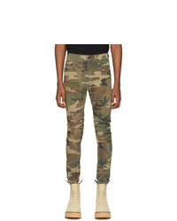 R13 Green Denim Cooper Camouflage Drop Jeans