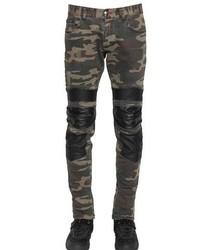 Philipp plein 17cm camo cotton gabardine biker jeans medium 313324