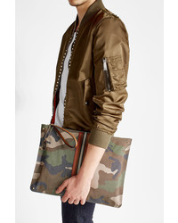 Rockstud camouflage printed pouch with leather medium 3645519