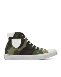 Olive Camouflage Leather High Top Sneakers