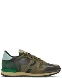 Green garavani camo rockrunner sneakers medium 1125532