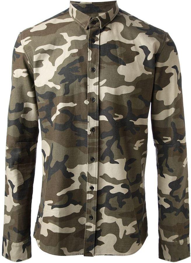 84f53f62 Balmain Camouflage Print Shirt, $531   farfetch.com   Lookastic.com