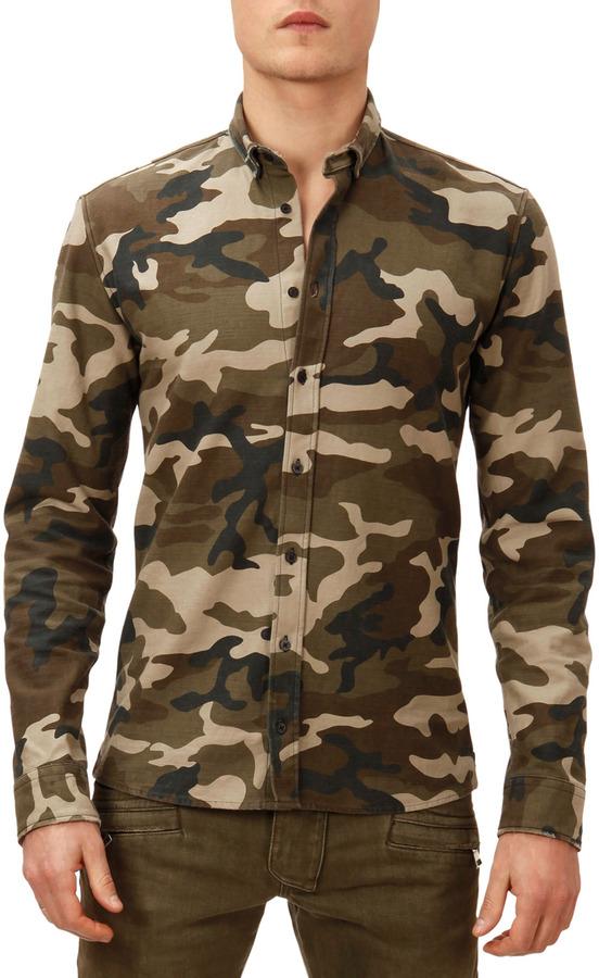 5088a851 Balmain Camo Print Button Down Shirt Green, $595   Bergdorf Goodman ...