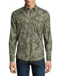 Antony Morato Camouflage Print Long Sleeve Sport Shirt Olive