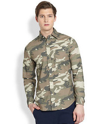 Saks Fifth Avenue Collection Modern Fit Camo Sportshirt