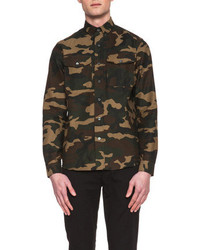 Ami Cotton Military Shirt In Camouflage