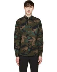 Valentino Green Black Camouflage Shirt