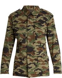 Nili Lotan Ashton Camouflage Print Stretch Cotton Jacket