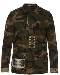 Valentino Bead Embellished Camouflage Print Cotton Jacket