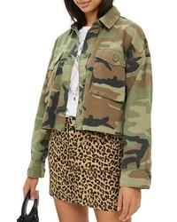 Topshop Benny Camouflage Crop Shirt Jacket