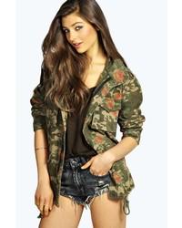 Boohoo Jane Floral Camouflage Utility Jacket