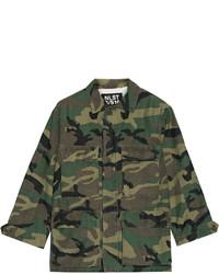 Nlst Camouflage Print Cotton Blend Jacket Forest Green