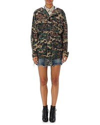 Saint Laurent Camouflage Star Print Hooded Field Jacket