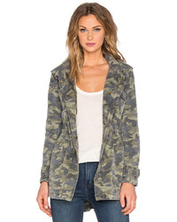 Velvet by Graham & Spencer Darla Army Long Sleeve Tied Waist Front Zipper Jacket