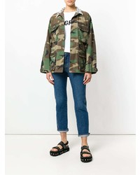 Forte Dei Marmi Couture Embellished Camouflage Military Jacket