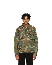 R13 Green And Brown Camo Multi Pocket Jacket
