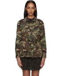 Saint Laurent Green Black Camouflage Studded Jacket