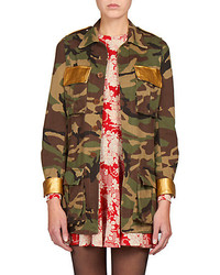 Saint Laurent Leather Trim Camo Jacket