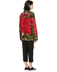 Off White Green Camo Military Jacket