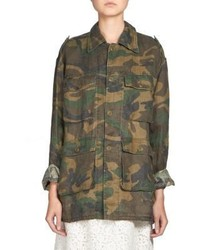 Saint Laurent Oversized Camo Print Jacket