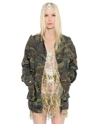 Saint Laurent Camo Printed Light Canvas Jacket
