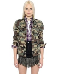 Saint Laurent Studded Camo Cotton Denim Field Jacket