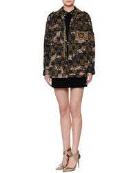 Valentino Star Embroidered Camouflage Field Jacket Green Camo