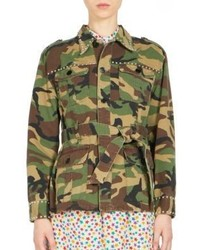 Saint Laurent Stud Trimmed Belted Camo Jacket