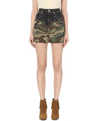 Camouflage panel denim mini skirt medium 543557