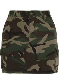 Camouflage print denim mini skirt army green medium 543556