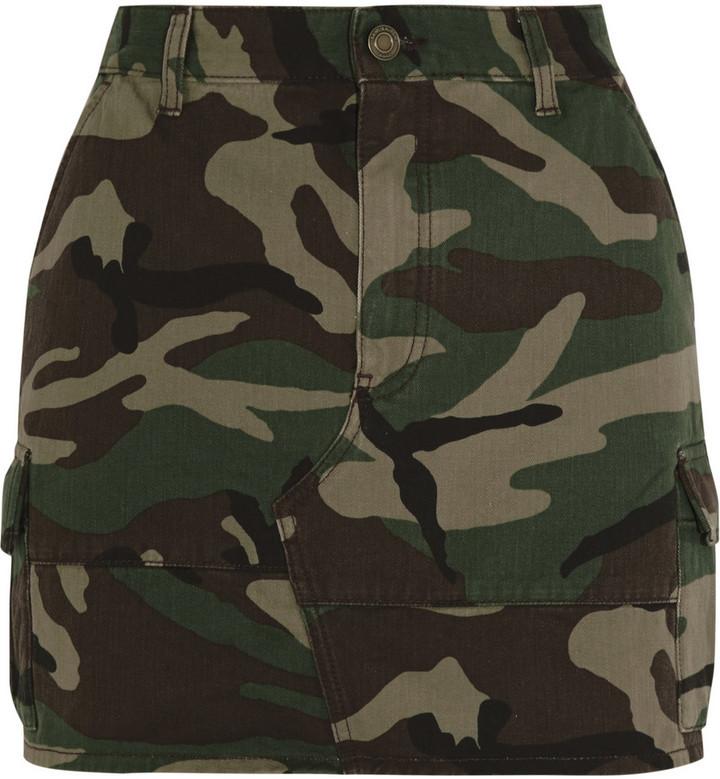 1e68920cf7 Saint Laurent Camouflage Print Denim Mini Skirt Army Green, $890 ...