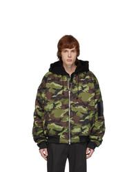 Juun.J Black And Green Symmetry Camo Bomber Jacket