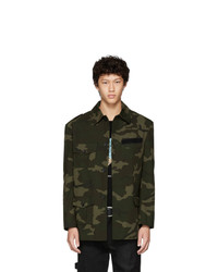 Olive Camouflage Nylon Shirt Jacket