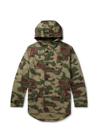 Ten C Camouflage Print Cotton Canvas Hooded Jacket