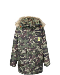 Brumal Camouflage Print Hooded Coat
