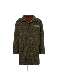 Yves Salomon Homme Fur Lined Camouflage Coat