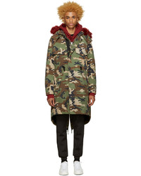 Off-White Green Camouflage Parka