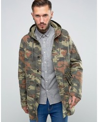 Asos Lightweight Fishtail Parka In Camouflage Print