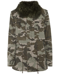 Mr Mrs Italy Shearling Lined Camouflage Print Cotton Canvas Parka Army Green